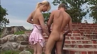Teen couple in nature