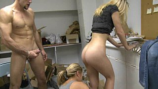 Young blonde honey gets it in the shop