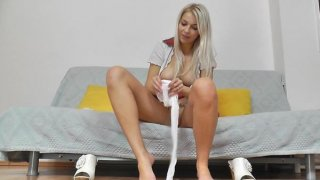 Awesome blonde Nathaly sheer hose legs