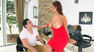 Busty boss Jazmyn is seducing her new salesman