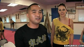 Gianna Michaels,  Jessica Lynn,  Nikki Rhodes have kung fu lesson