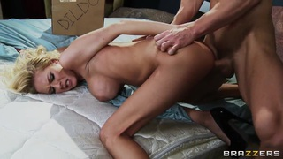 Johnny Sins got his blonde girlfriend Riley Evans standing nude on the bed in doggy style and enjoying blowjob.