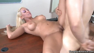 Busty blonde tattooed milf Serena and her student