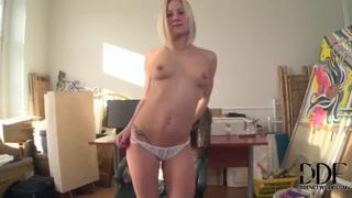 Blonde Sabina Taylor gets naked and naughty