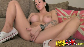 FakeAgentUK Tattoed chick deep throats gets creampie