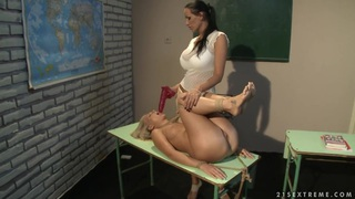 Mandy Bright and Tara Pink rope tied on class table