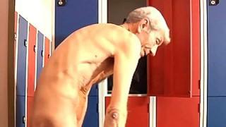 Dirty brunette fucks old geezer in a dressing room