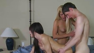 Mature Jenna Moore threesome with teen couple on the bed