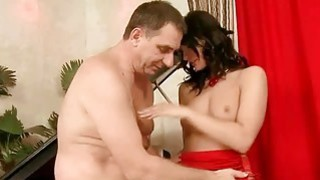 Old man fucking gorgeous young brunette