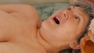 Granny masturbating hairy pussy with toy and grand