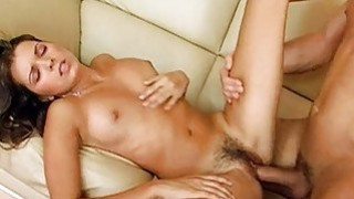 Beauty stands in doggie getting banged doggystyle