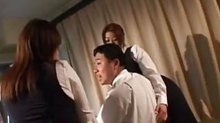 Japanese big stacked secretaries share hefty meatbone