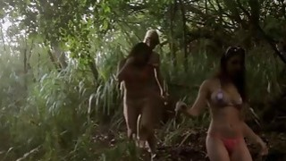 Badass lusty babes shows boobs boar hunting and sky diving