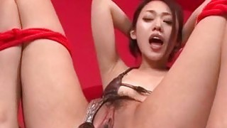 An Yabuki screams with toys in her vag and cock in mouth