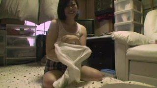 Innocent Japanese girl finally scores her threesome