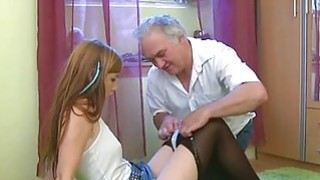Young sweetie enjoys rear fuck with old guy
