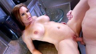 Big boobed Diamond Foxxx having steamy sex in the toilet