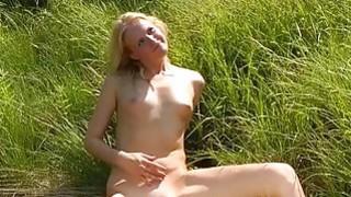 Sweet natural blonde banged outdoors