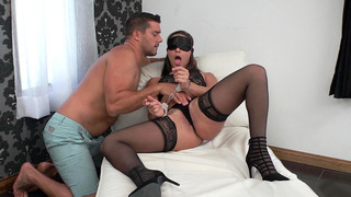 Blindfolded and cuffed Abella Danger got fingered