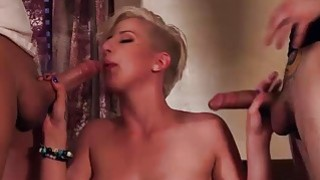 Hot busty blonde Dylan Phoenix gets pounded by two cocks