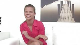Gorgeous brunette Sarah Kay makes the casting agent cum