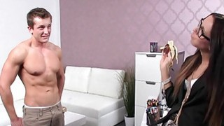 Fit guy licks and fucks female agent