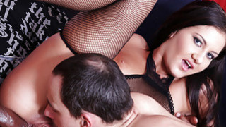 Brunette interracial cuckold anal