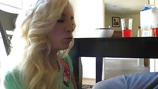 Petite blonde girlfriend bangs pov home