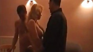 Blonde mature wife being shared with a friend