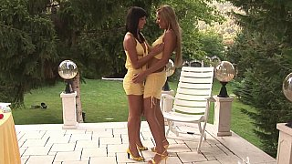 Backyard lesbian banging