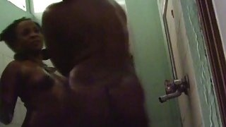 Real best friends ebony washing teasing their booty in amateur shower session