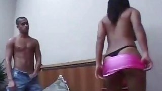 A lusty dude gets his tight butt fucked hard by a brunette girl with a strapon