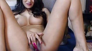 Lovely amateur big tits asian MILF fingering on webcam