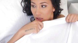 Keiran Lee licks Amia Mileys juicy twat in the bedroom