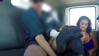Two slutty and horny girls drop panties and suck guy's dick inside fake tow truck