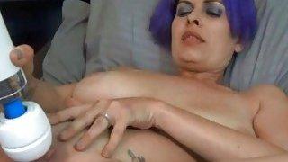 Blue Hair Amateur Masturbation With Giant Vibrater