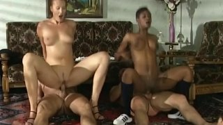 Stunning foursome of interracial couples going hard
