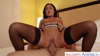 Attractive pornstar babe Gianna Nicole rides cock reverse cowgirl style