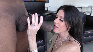 MILF sucking a young black cock