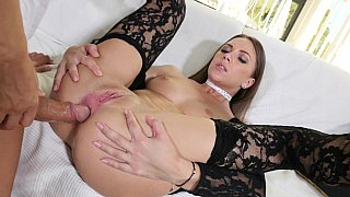 Luxurious brunette gets sodomized