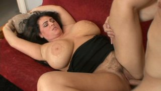Small dick drown in Indianna Jaymes's huge boobs doing a titsjob